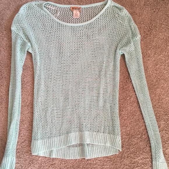 Mudd Tops Turquoise Mesh Crochet Long Sleeve Top Poshmark
